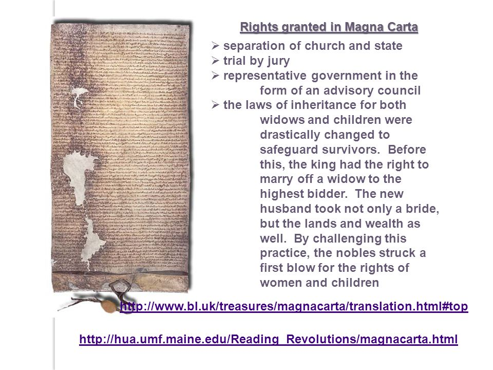 Rights granted in Magna Carta