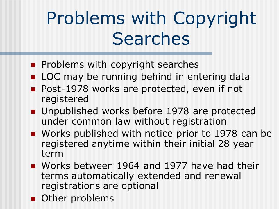 Problems with Copyright Searches