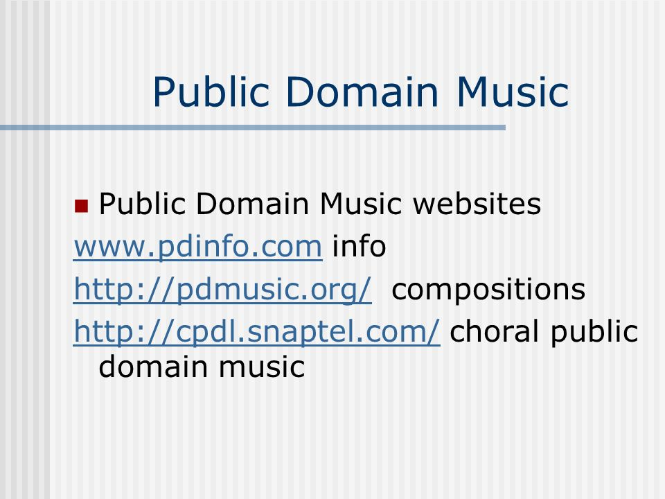 Public Domain Music Public Domain Music websites   info
