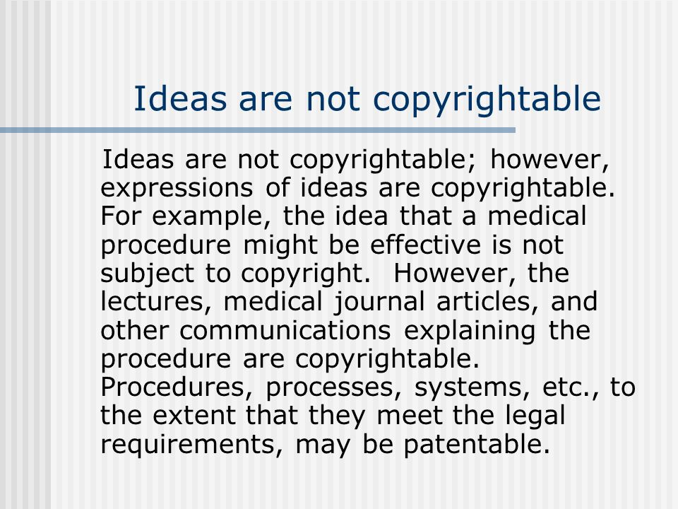 Ideas are not copyrightable