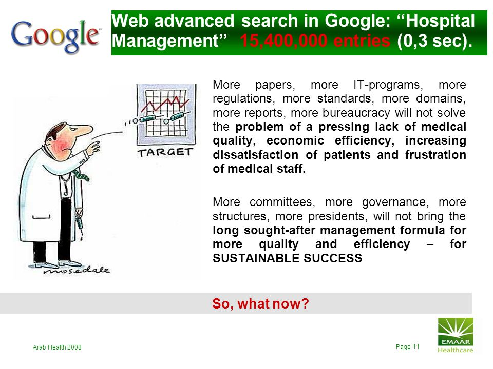 Web advanced search in Google: Hospital Management 15,400,000 entries (0,3 sec).