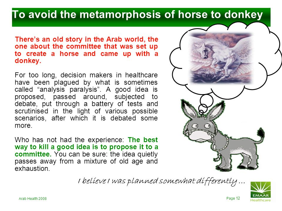 To avoid the metamorphosis of horse to donkey