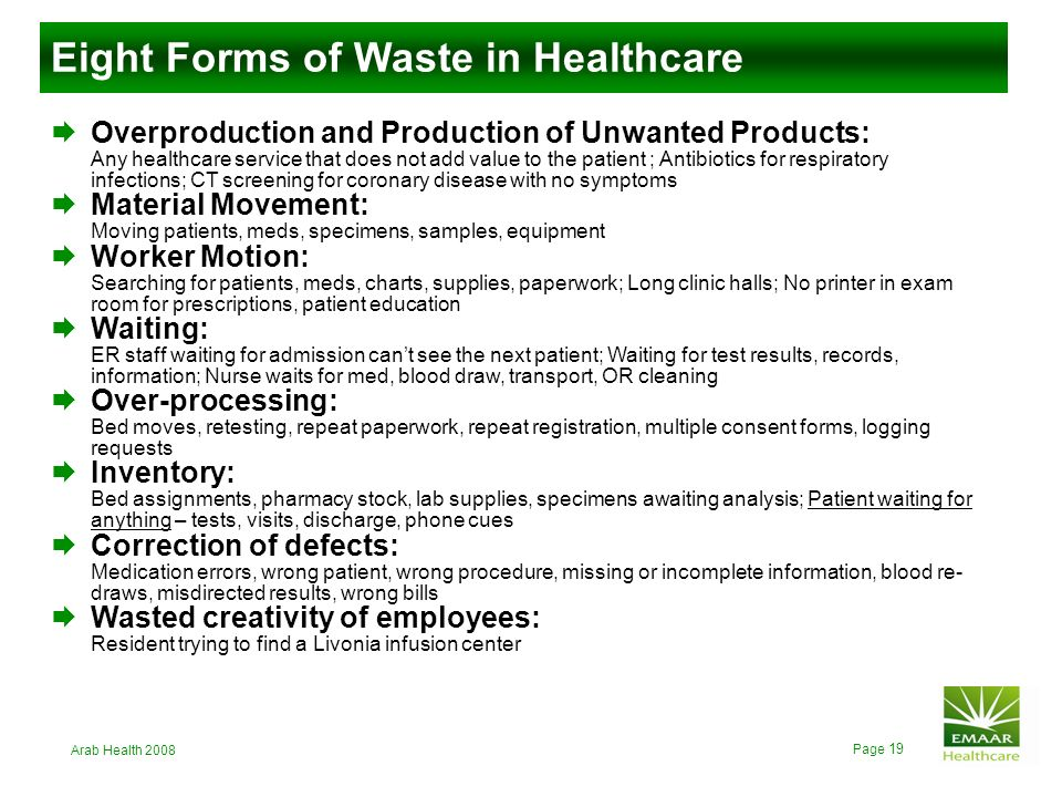 Eight Forms of Waste in Healthcare