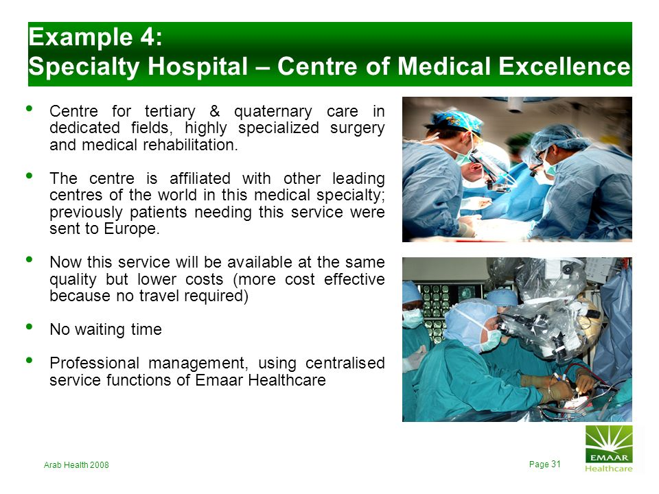 Example 4: Specialty Hospital – Centre of Medical Excellence
