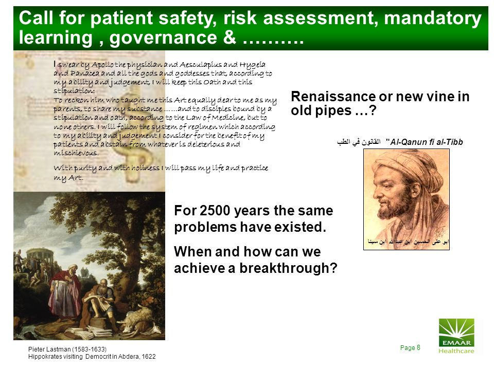 Call for patient safety, risk assessment, mandatory learning , governance & ……….