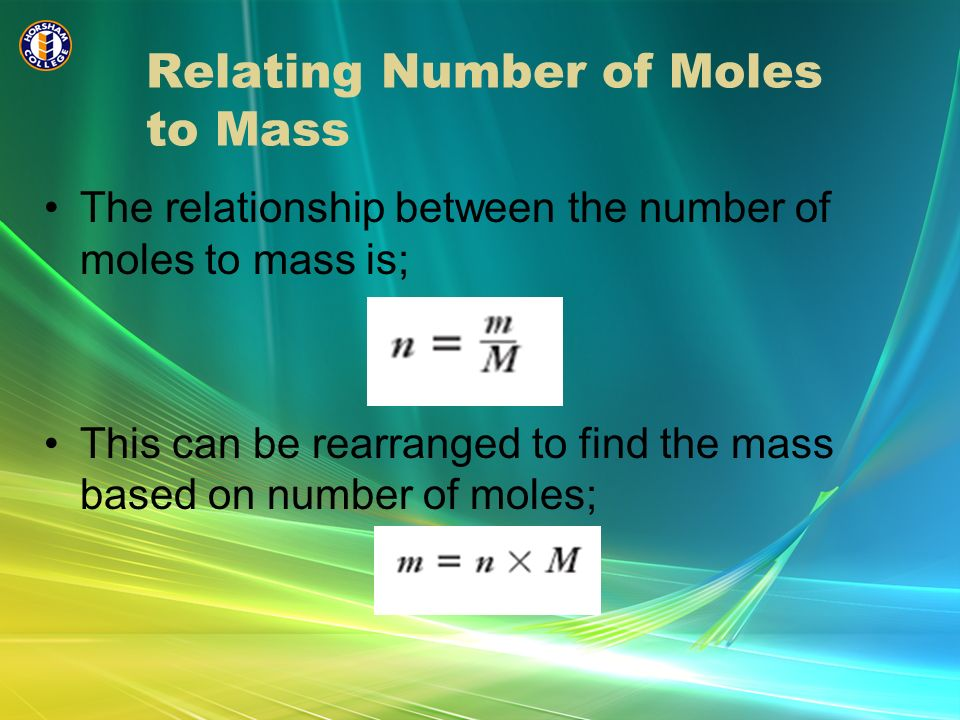 Relating Number of Moles to Mass
