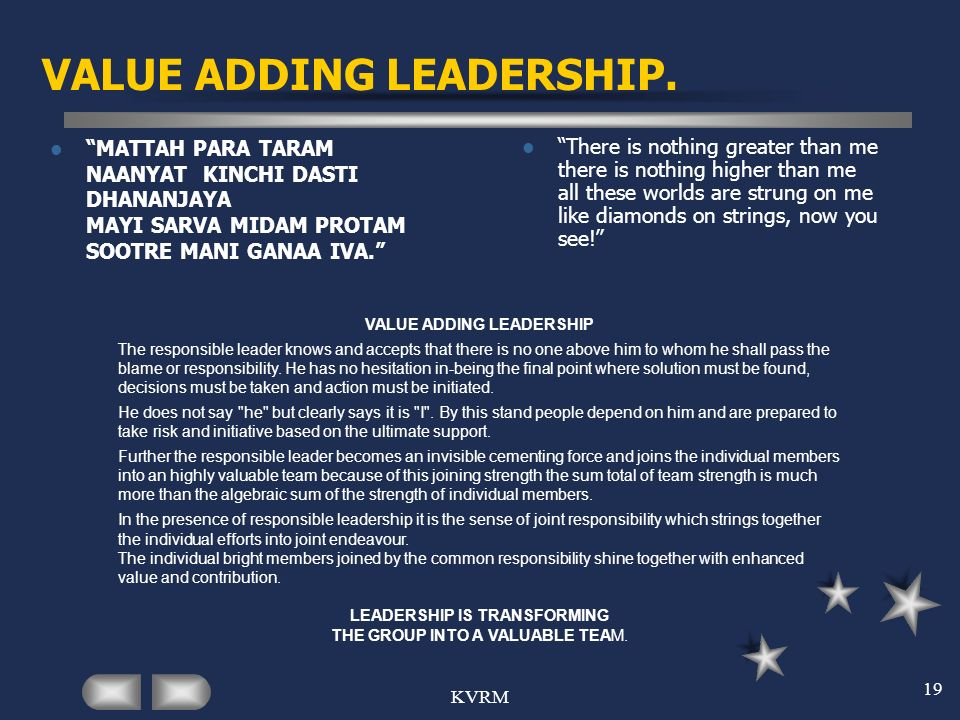 VALUE ADDING LEADERSHIP.