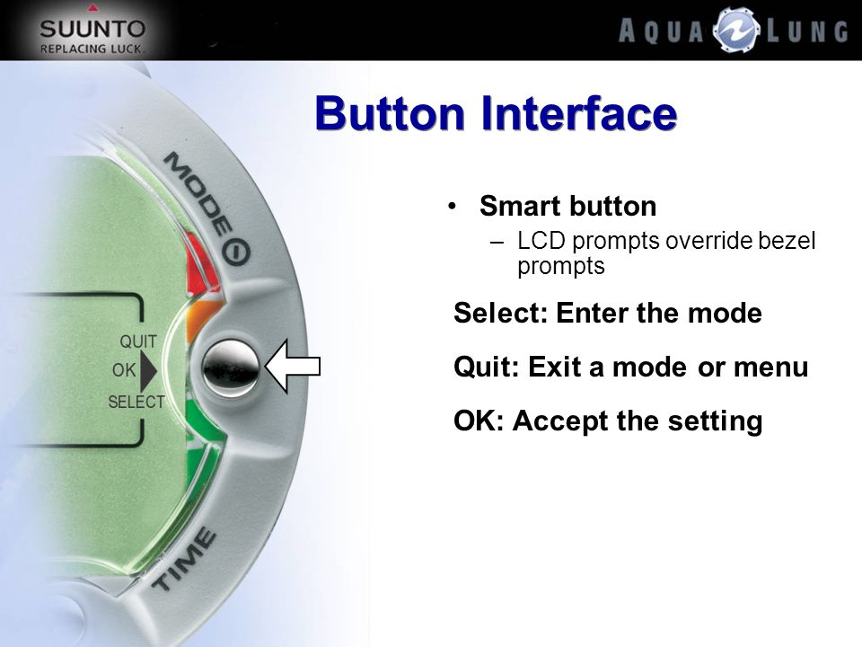 Button Interface Smart button Select: Enter the mode