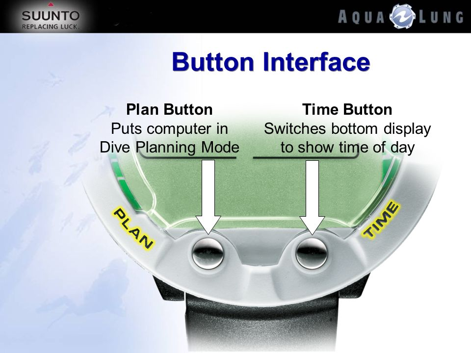 Button Interface Plan Button Puts computer in Dive Planning Mode