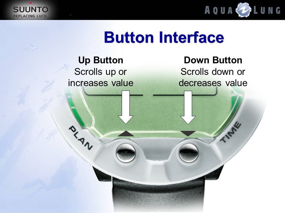 Button Interface Up Button Scrolls up or increases value