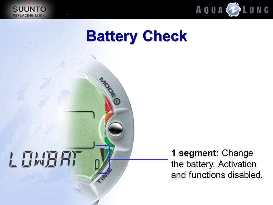 Battery Check 1 segment: Change the battery. Activation and functions disabled.