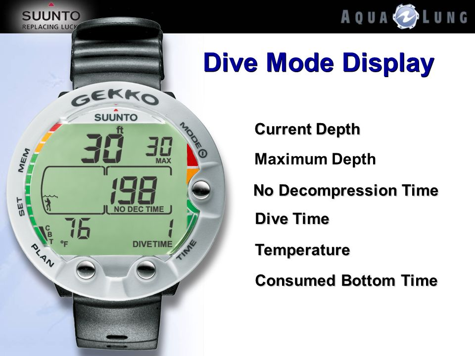 Dive Mode Display Current Depth Maximum Depth No Decompression Time
