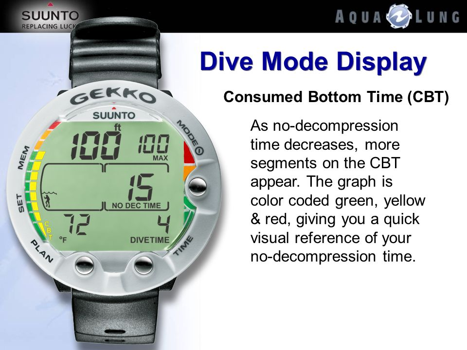 Dive Mode Display Consumed Bottom Time (CBT)