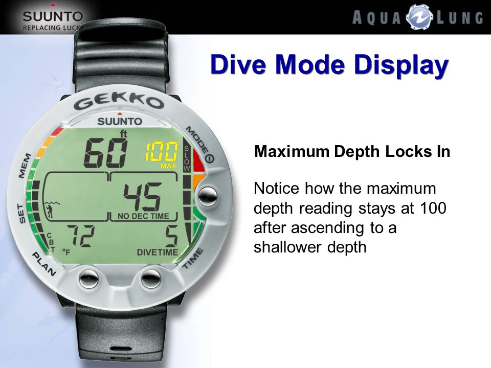 Dive Mode Display Maximum Depth Locks In