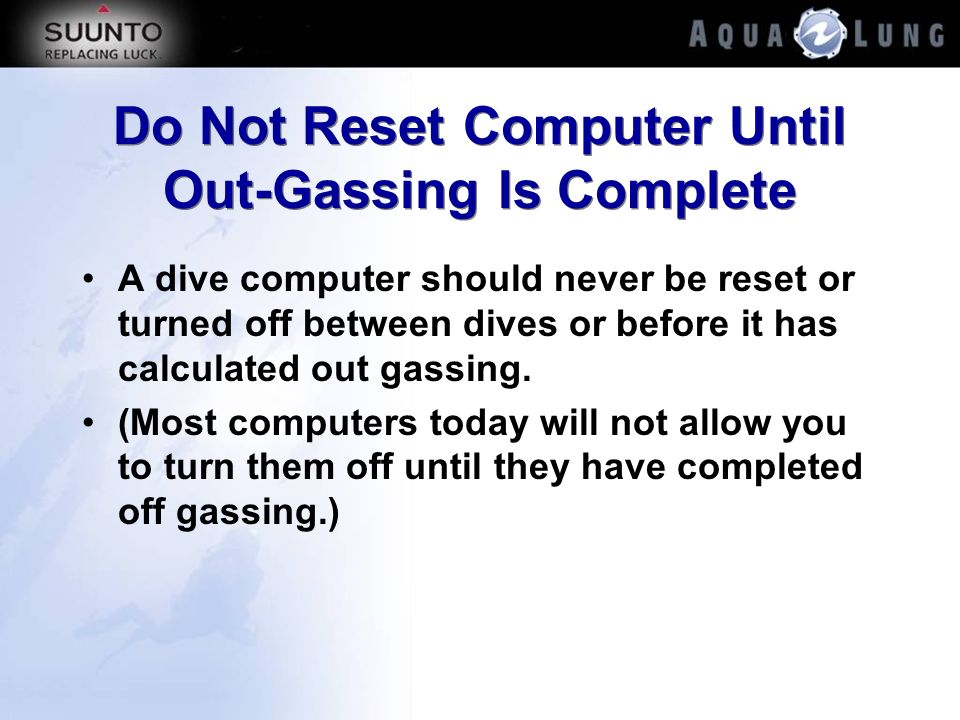 Do Not Reset Computer Until Out-Gassing Is Complete