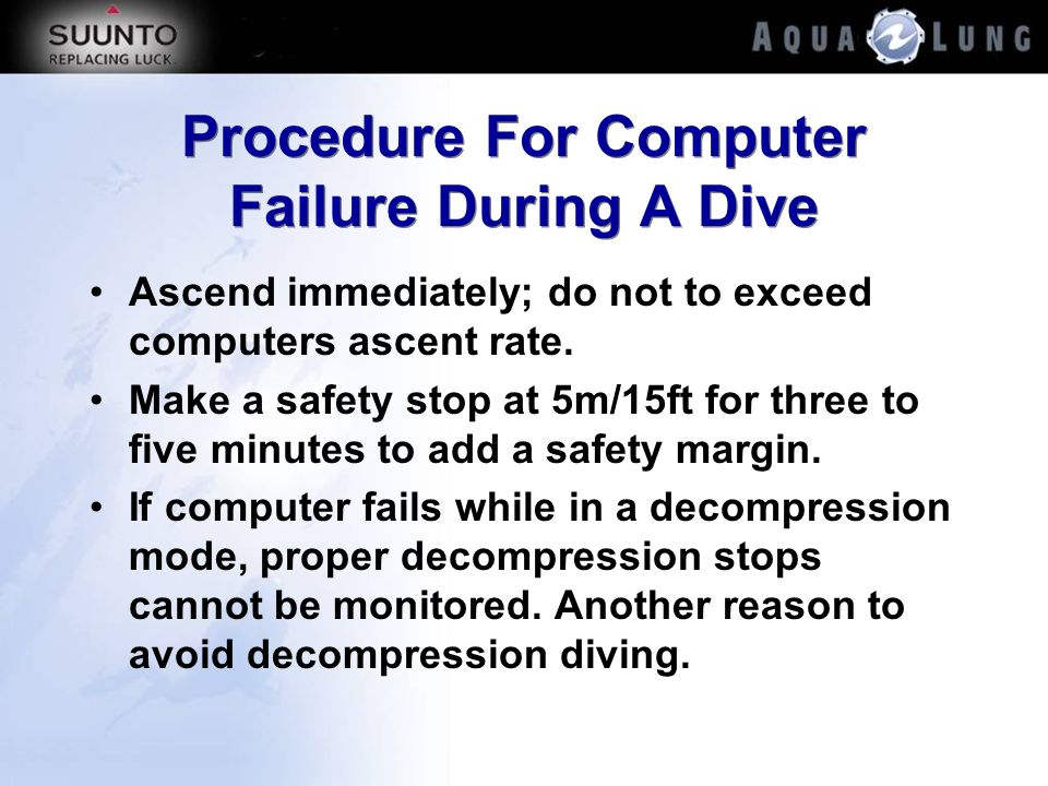 Procedure For Computer Failure During A Dive