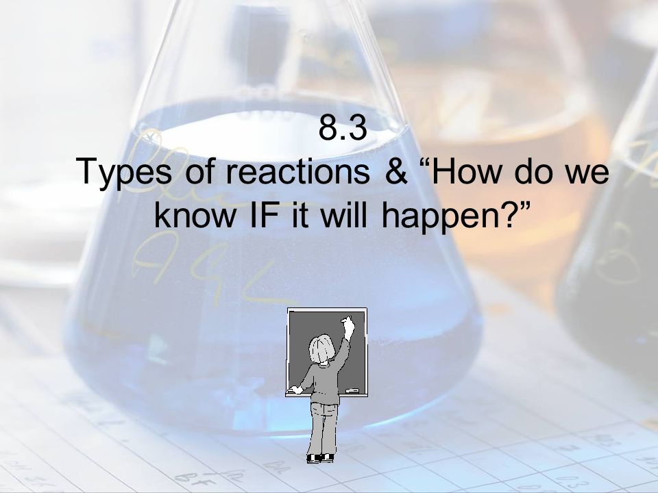 8.3 Types of reactions & How do we know IF it will happen