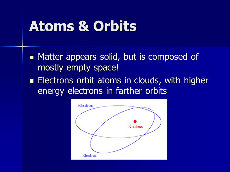 Atoms & Orbits Matter appears solid, but is composed of mostly empty space!