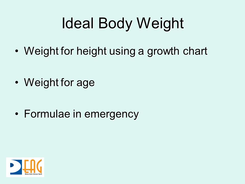 Ideal Body Weight Weight for height using a growth chart