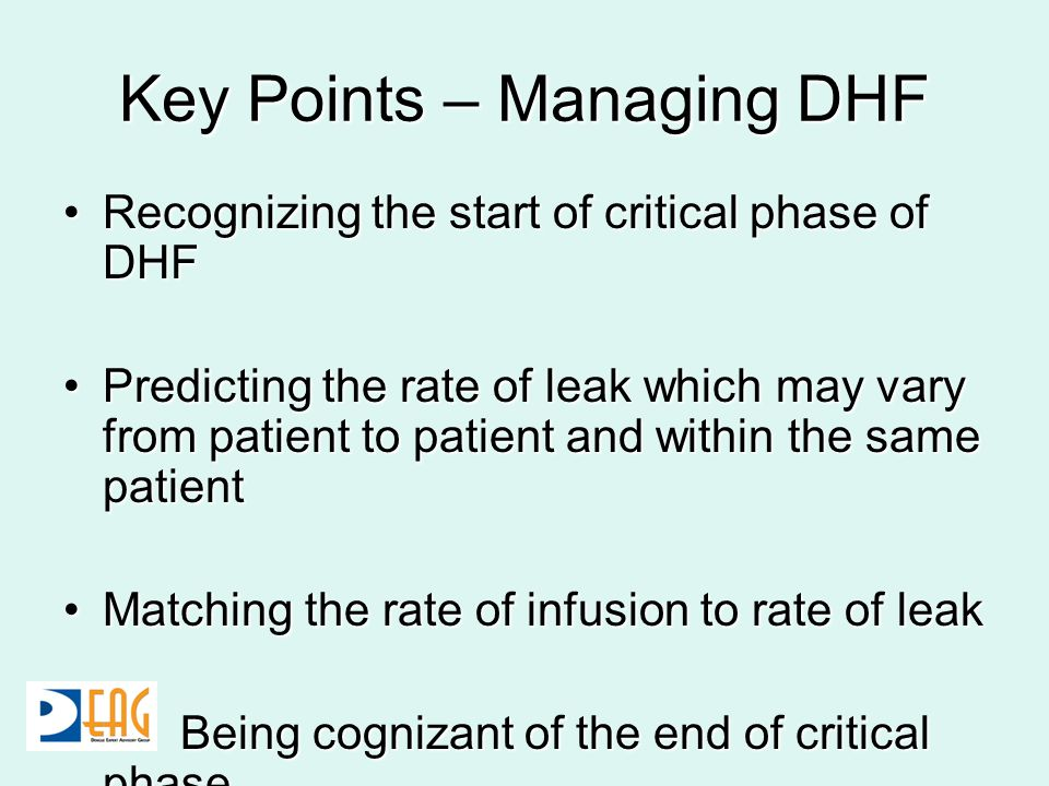 Key Points – Managing DHF