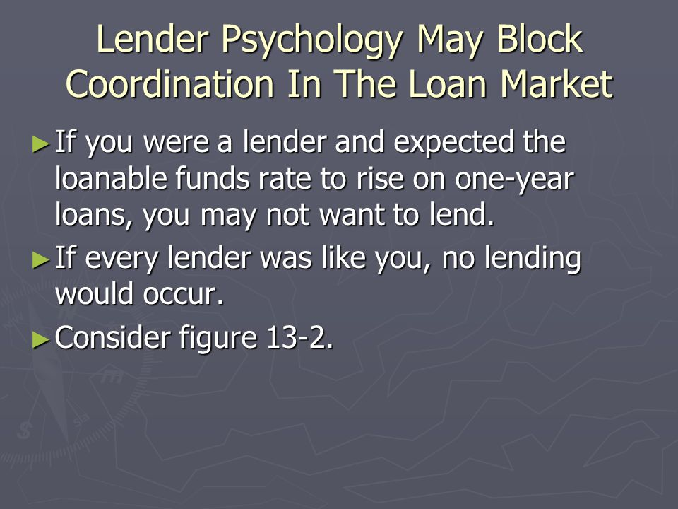 Lender Psychology May Block Coordination In The Loan Market