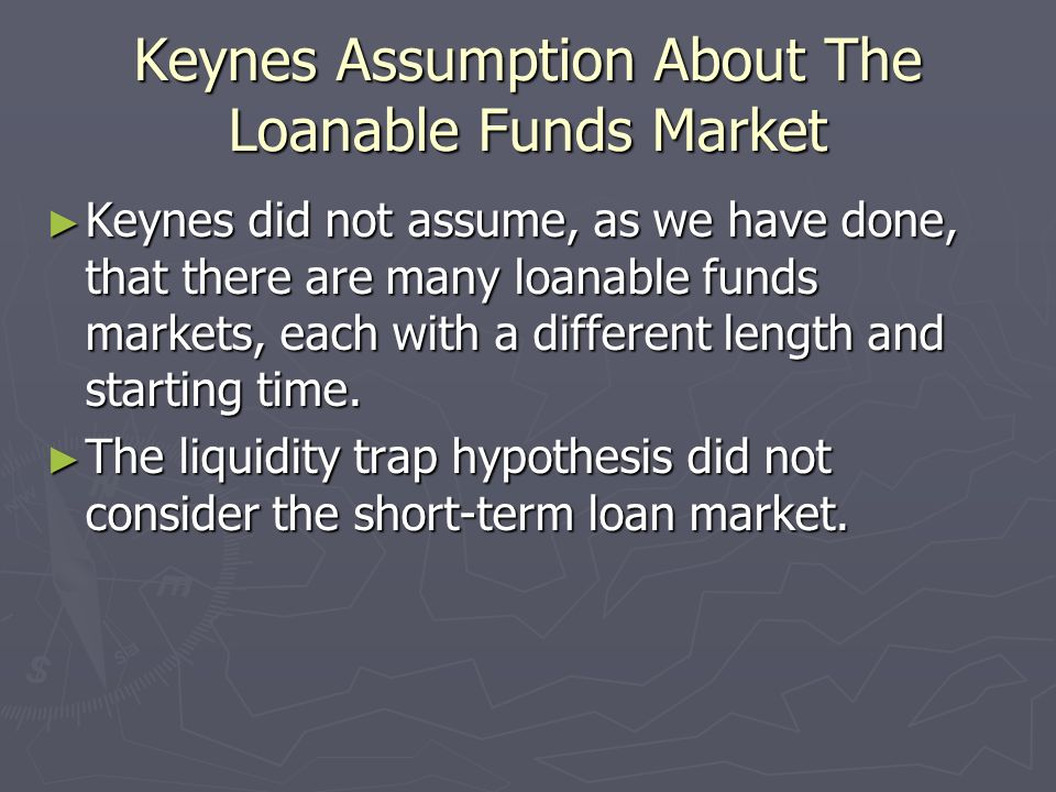 Keynes Assumption About The Loanable Funds Market