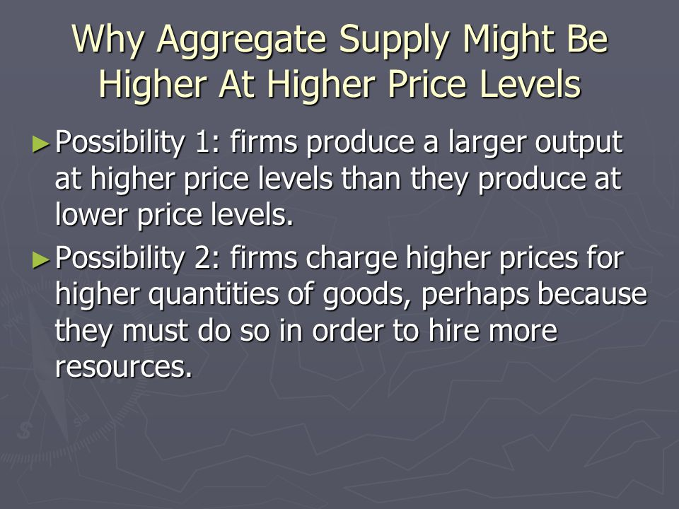 Why Aggregate Supply Might Be Higher At Higher Price Levels