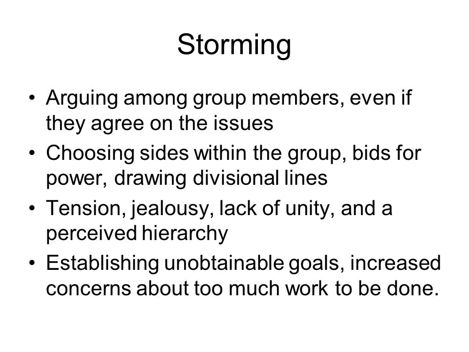 Storming Arguing among group members, even if they agree on the issues