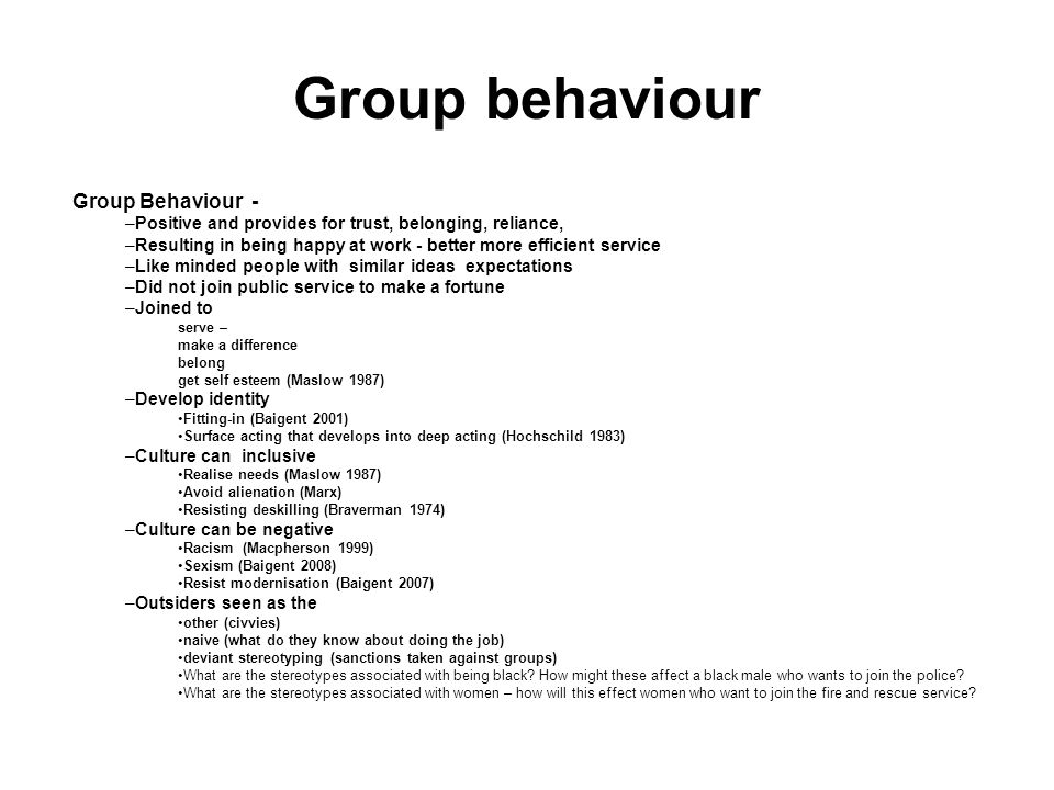 Group behaviour Group Behaviour -