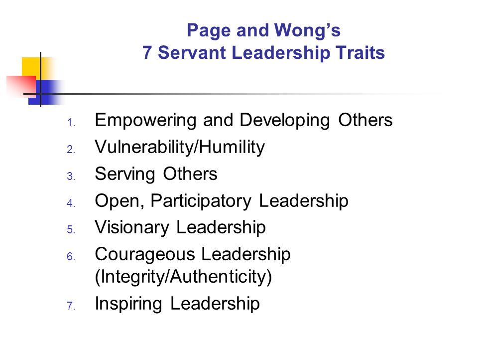 Page and Wong's 7 Servant Leadership Traits