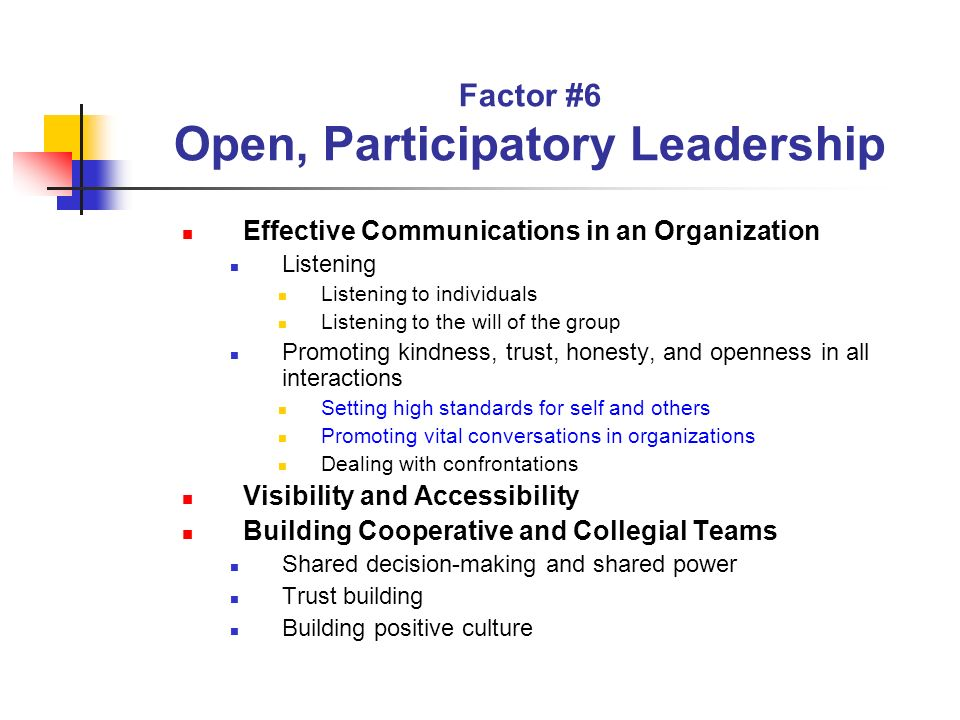 Factor #6 Open, Participatory Leadership