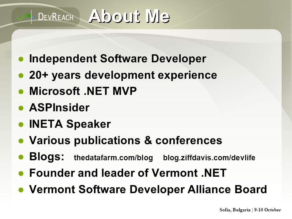 About Me Independent Software Developer