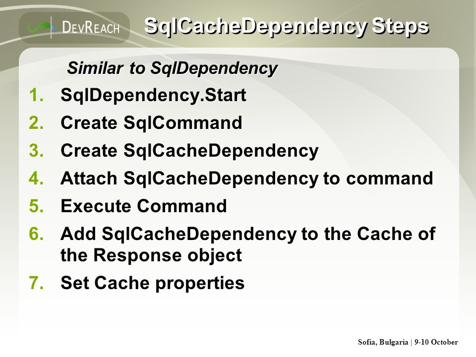 SqlCacheDependency Steps