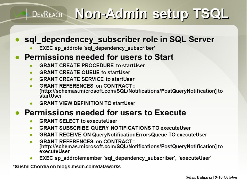 Non-Admin setup TSQL sql_dependencey_subscriber role in SQL Server