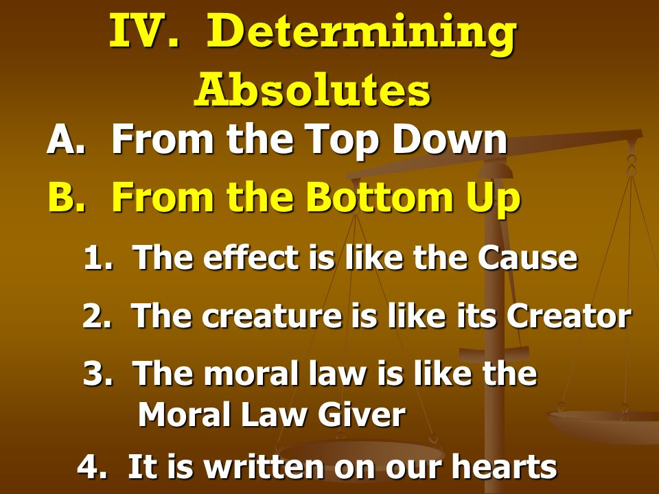 IV. Determining Absolutes