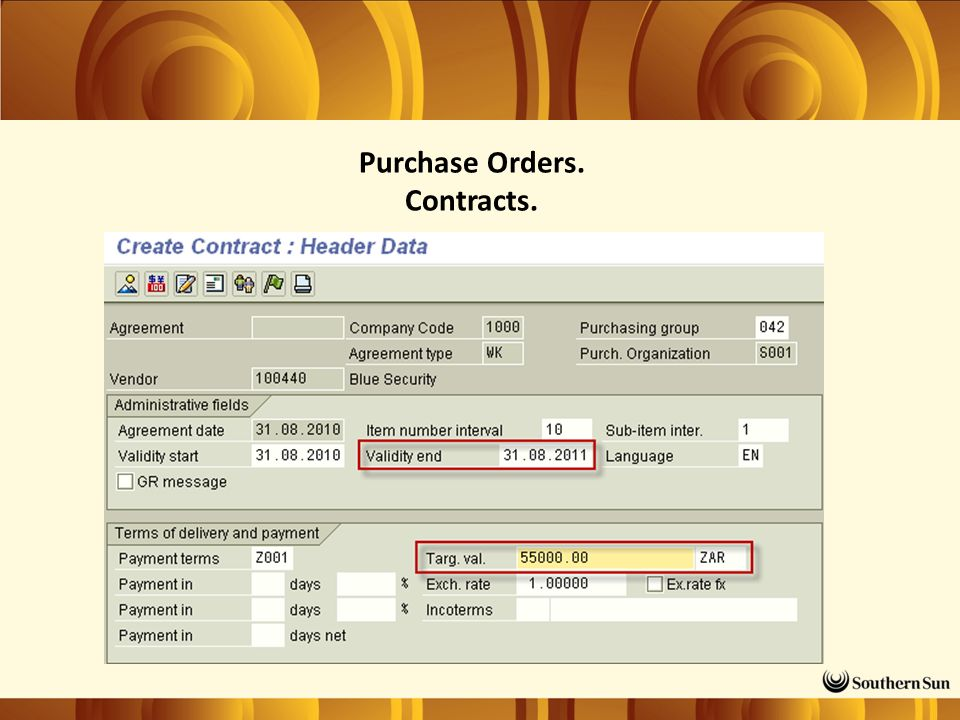 Purchase Orders. Contracts.