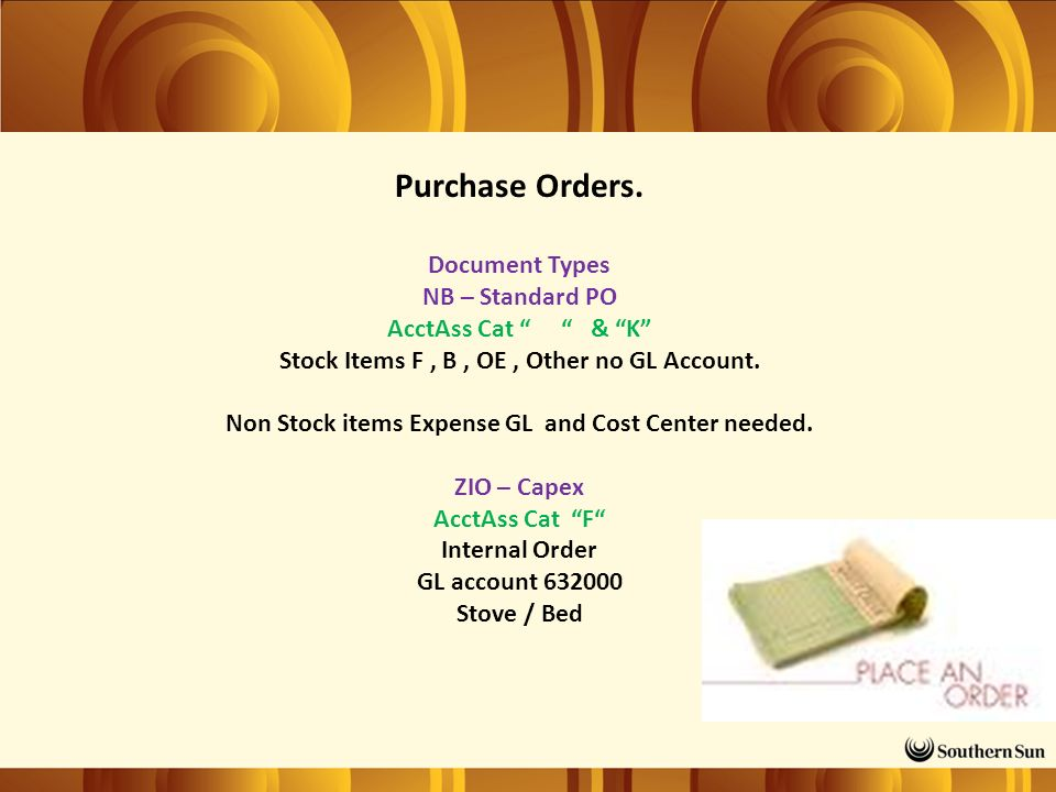 Purchase Orders.