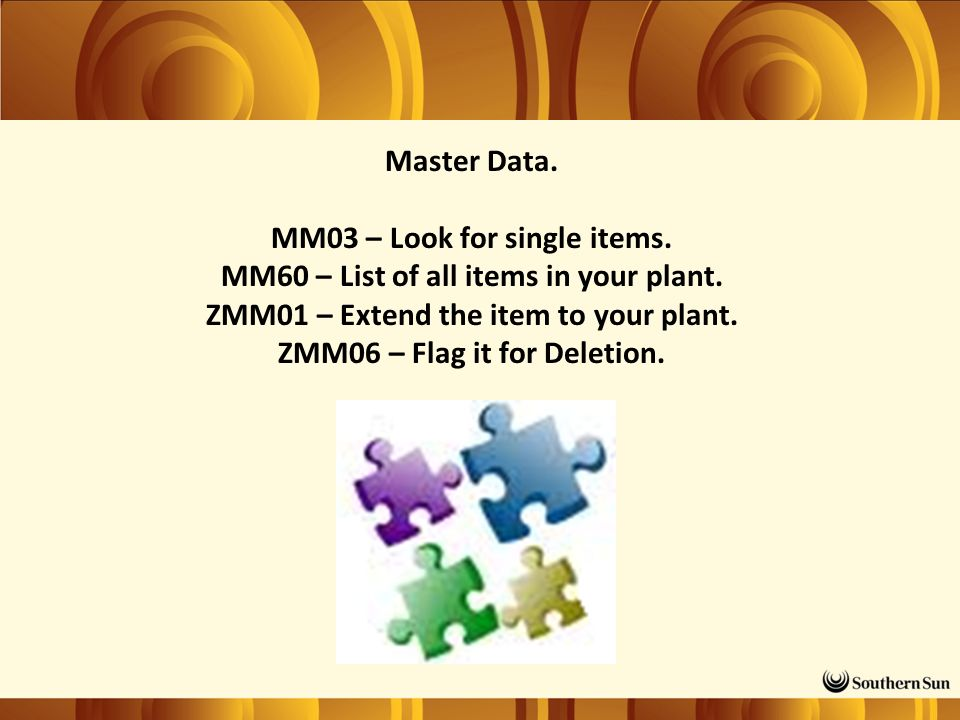 Master Data. MM03 – Look for single items