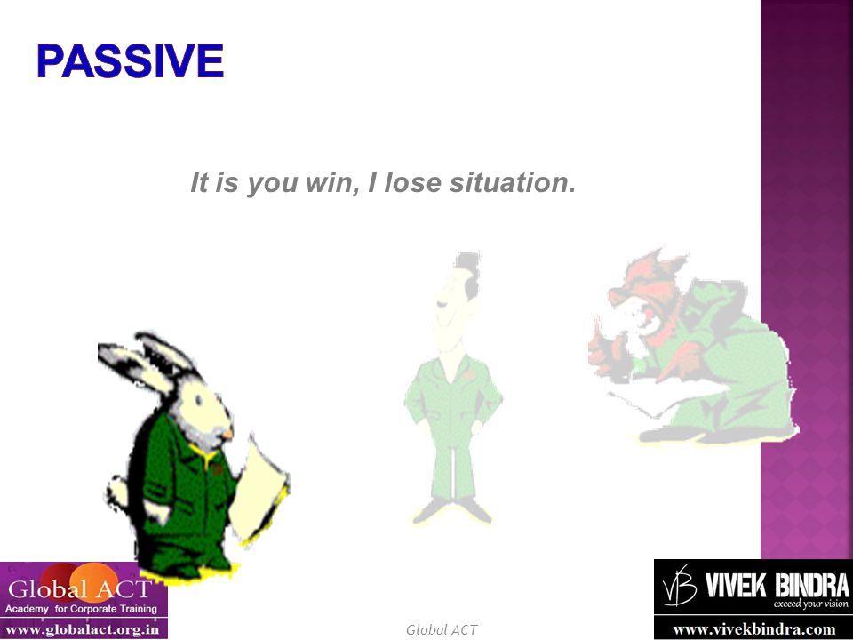 Passive It is you win, I lose situation.