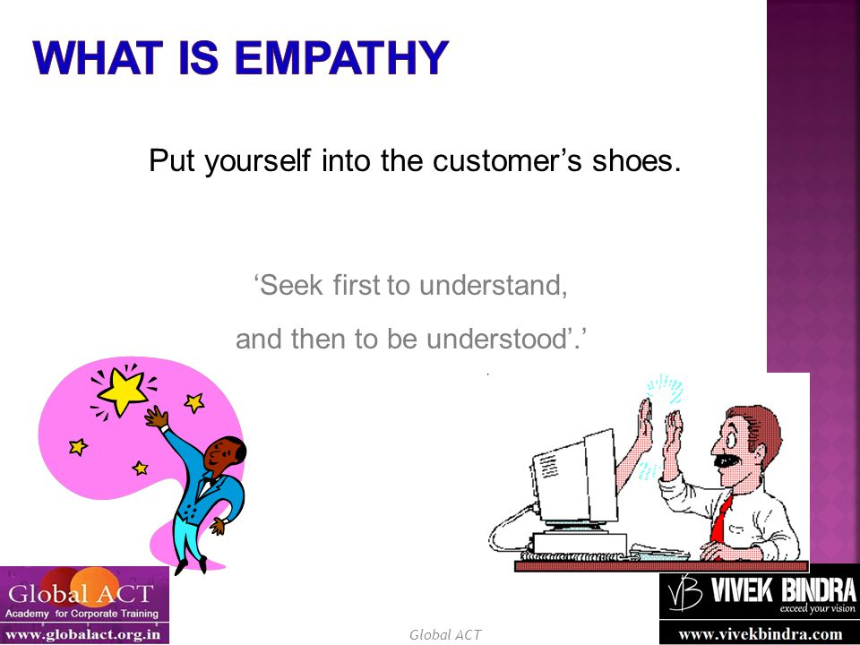 What Is Empathy Put yourself into the customer's shoes.