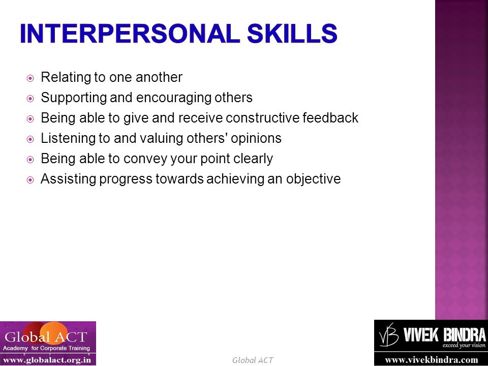 Interpersonal Skills Relating to one another