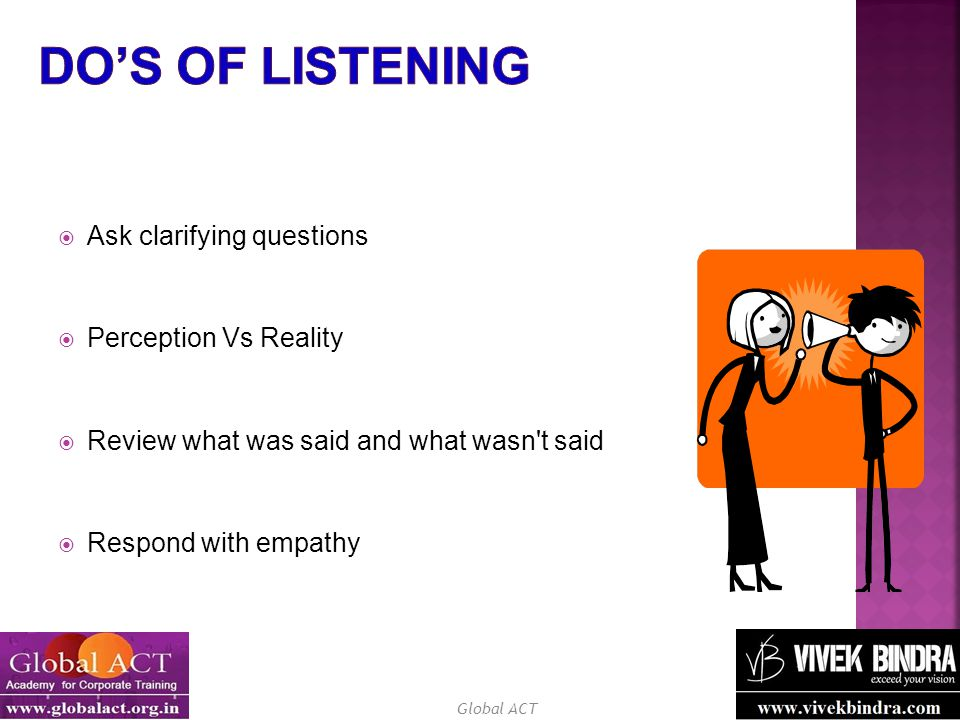 Do's of Listening Ask clarifying questions Perception Vs Reality