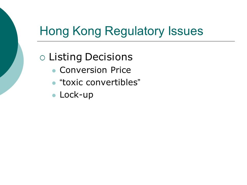 Hong Kong Regulatory Issues