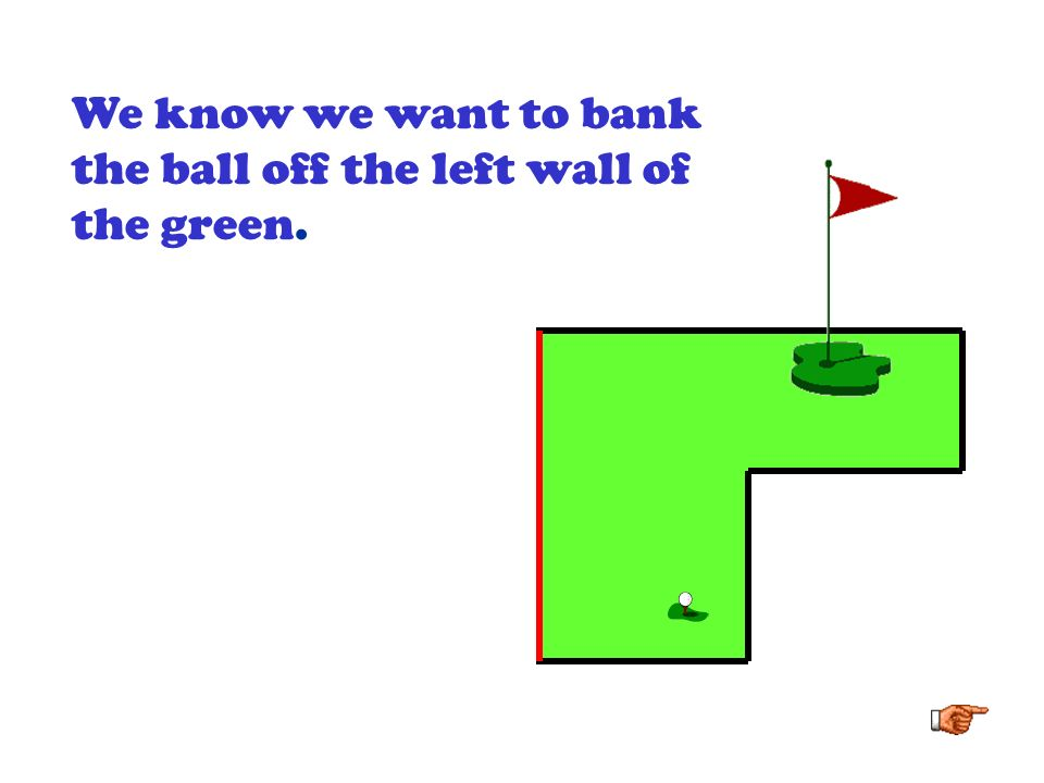 We know we want to bank the ball off the left wall of the green.