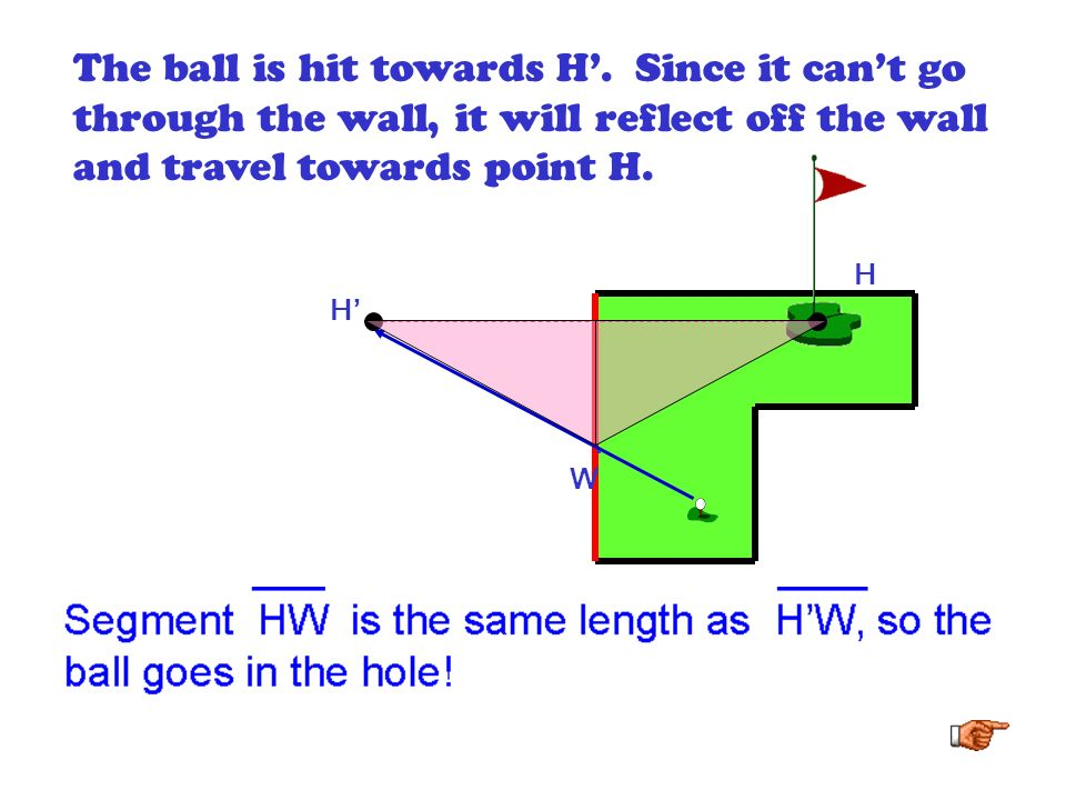 The ball is hit towards H'