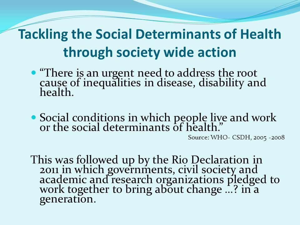 Tackling the Social Determinants of Health through society wide action
