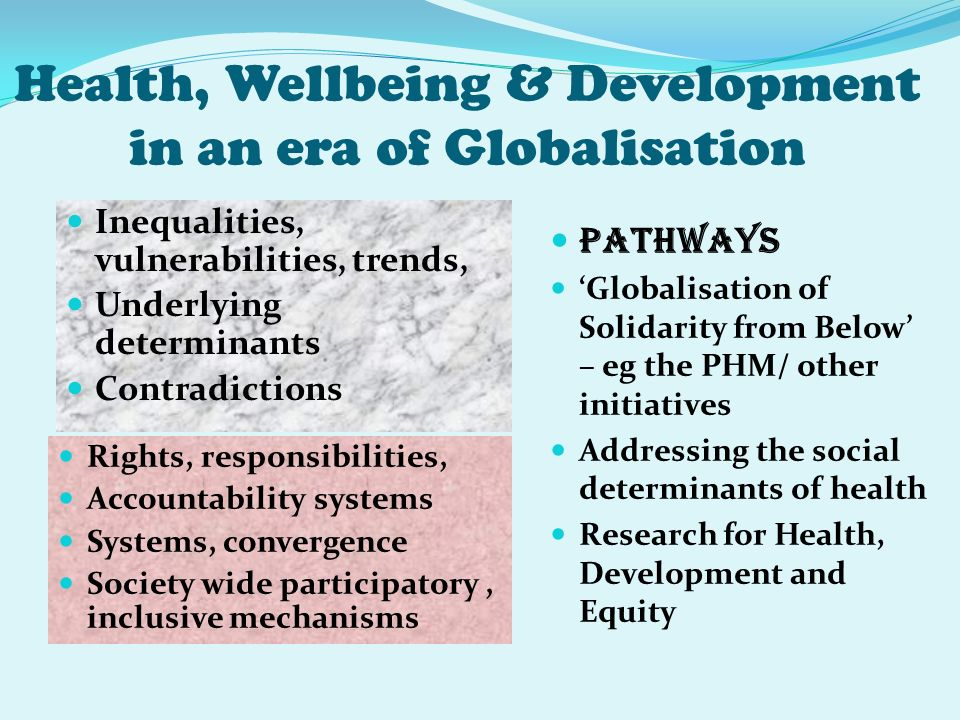 Health, Wellbeing & Development in an era of Globalisation