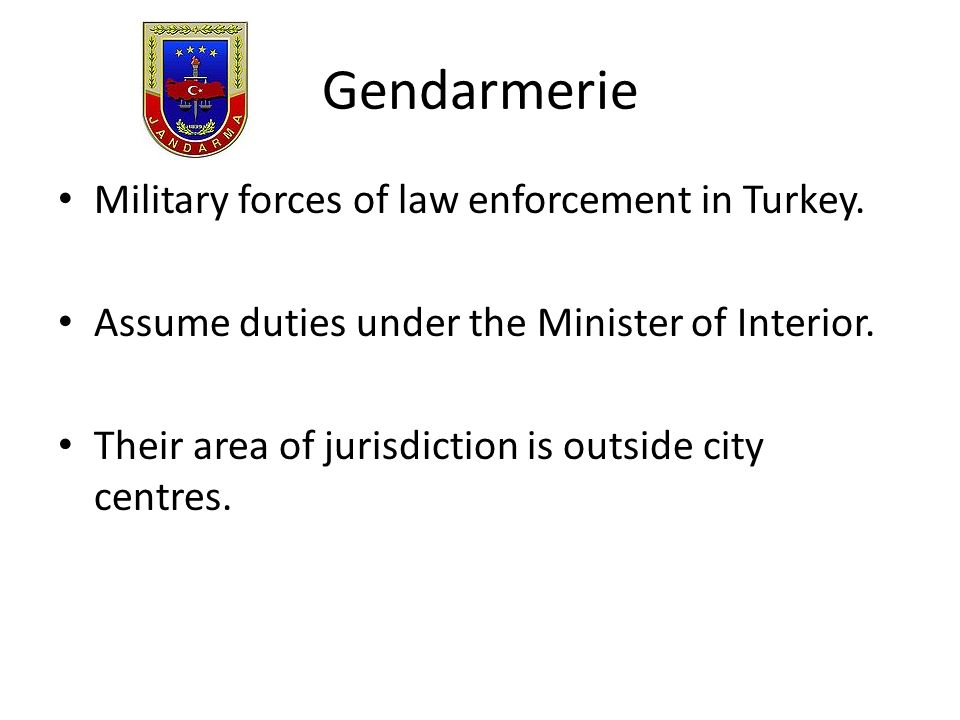 Gendarmerie Military forces of law enforcement in Turkey.