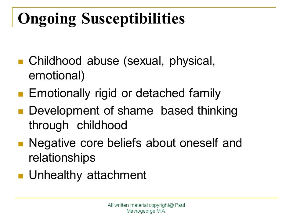 Ongoing Susceptibilities