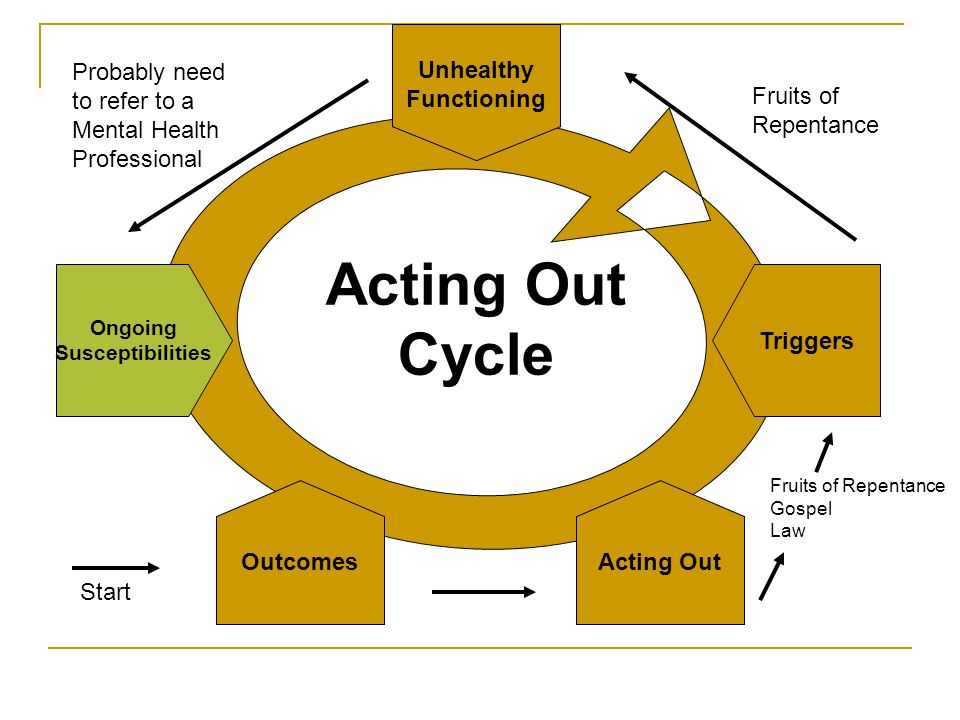 Acting Out Cycle Unhealthy Functioning Probably need to refer to a